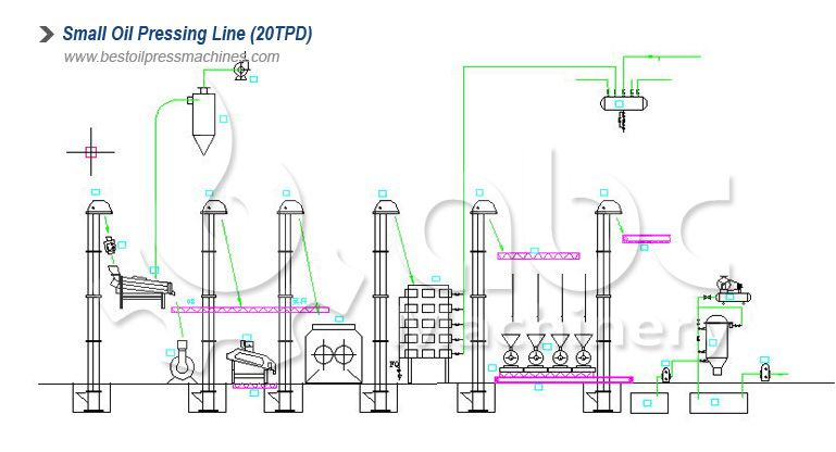 15~20tpd edible oil pressing line layout