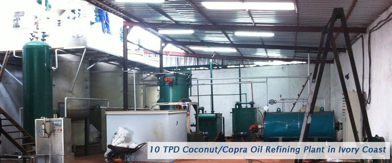 10TPD small coconut oil refining machine setup in Ivory Coast